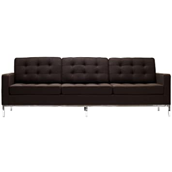 Modway Florence Style Sofa in Chocolate Brown Wool