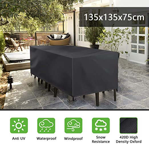 FOCHEA Funda Mesa Jardin, 420D Funda Muebles Impermeable Tela Oxford Anti-UV Fundas para Conjuntos de Muebles (135 * 135 * 75 cm): Amazon.es: Jardín