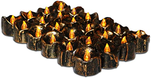 Youngerbaby 24Pcs Retro Realistic Flicker Flameless Flickering LED Battery Operated Candles Electric Light Candle Copper Led Tea Lights for Wedding Party Birthday Home Decor