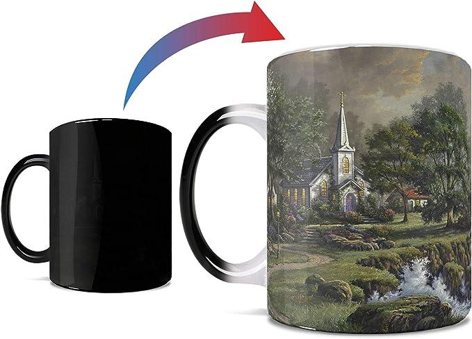 Amazon Com Thomas Kinkade Seaside Haven Lighthouse And Church One 11 Oz Morphing Mugs Color Changing Heat Sensitive Ceramic Mug Image Revealed When Hot Liquid Is Added Kitchen Dining