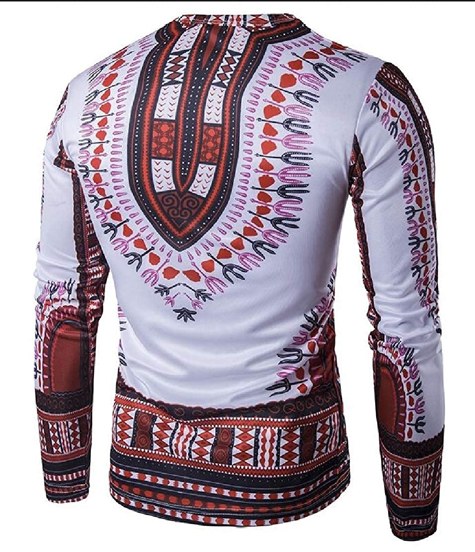 Generic Mens Shirts Casual African Print O-Neck Long Sleeved T-Shirt