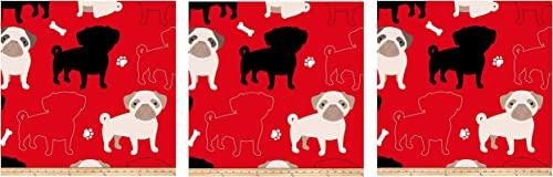 David Textiles Prints Oh My Pug-Ness Fleece, Red hr P ck