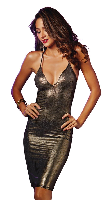 fc66127365f Amazon.com  Dreamgirl Women s Sexy Black Gold Foil Strappy Back Bodycon  Dress  Clothing