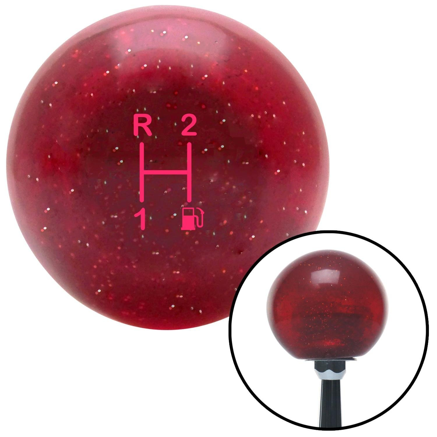 American Shifter 282796 Shift Knob Pink 3 Speed Shift Pattern - Gas 11 Red Metal Flake with M16 x 1.5 Insert