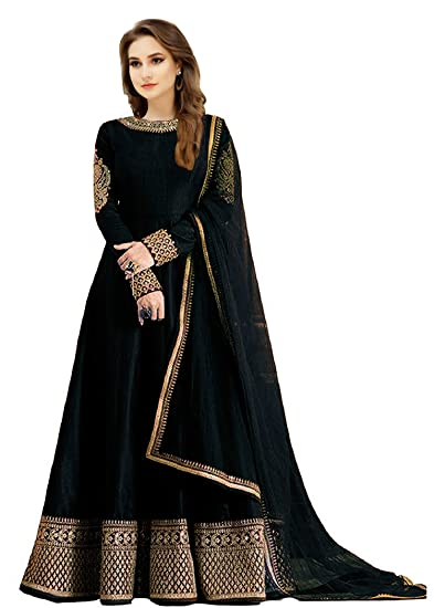 Jiyan Fashion Women\'s Traditional Gown (Black, free size): Amazon.in ...