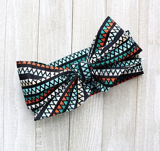 Amazon.com  Black Aztec Triangle Fabric Top Knot Big Bow Headband Head  Wrap 1809b0ada30