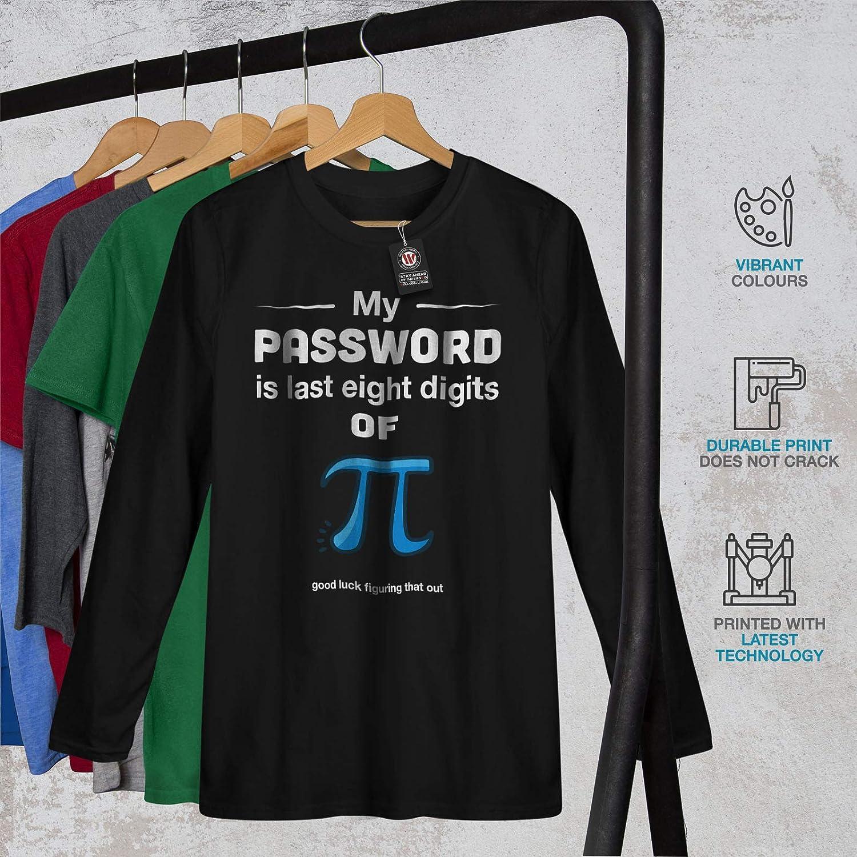 wellcoda Divertente Matematica Uomini Maglietta a Maniche Lunghe Mio Parola dordine Pi/Disegno Grafico