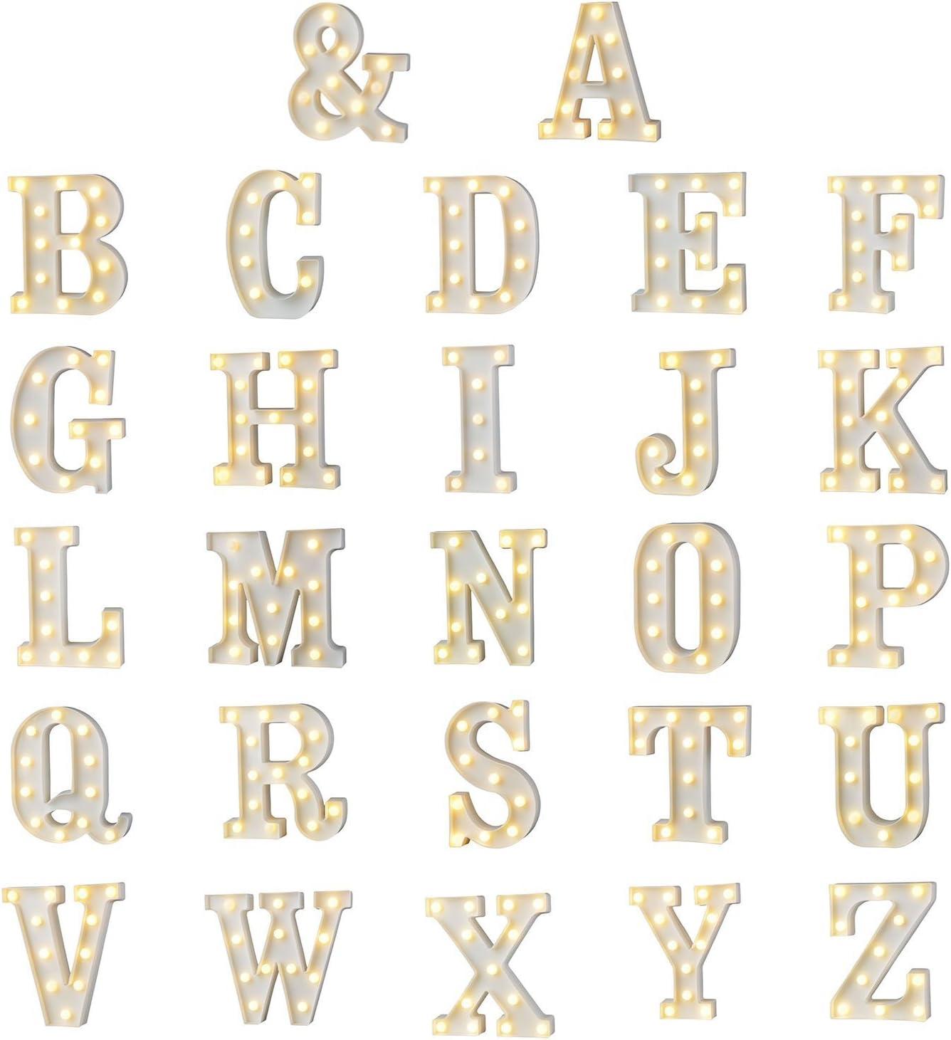 A-Z Alphabet Lumi/ère Blanc LED Nuit Lampes En Plastique Lettre Suspendu /Éclairage Suspendu pour la D/écoration De F/ête De Mariage Chambre De No/ël par Moobom K