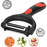Vegetable Peeler, 3 in 1 Fruit Peeler with 3 Rotatable Extra Sharp Blades- Straight, Serrated, Julienne Blades-Julienne Y Kitchen Peeler for Apples, Potatoes, Carrots, Cucumbers