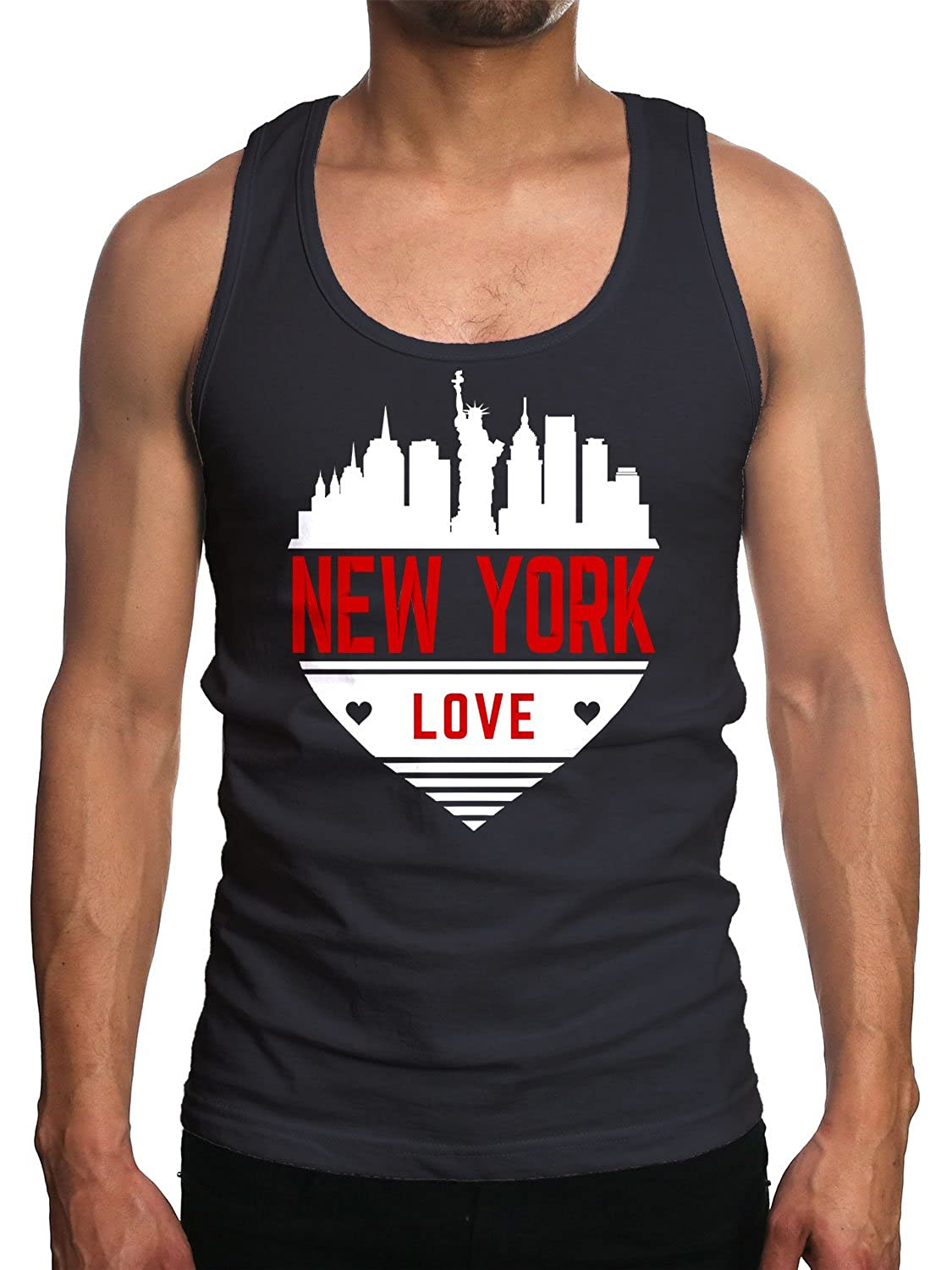 Young Motto Mens NEW YORK LOVE SKYLINE HEART Tank Top