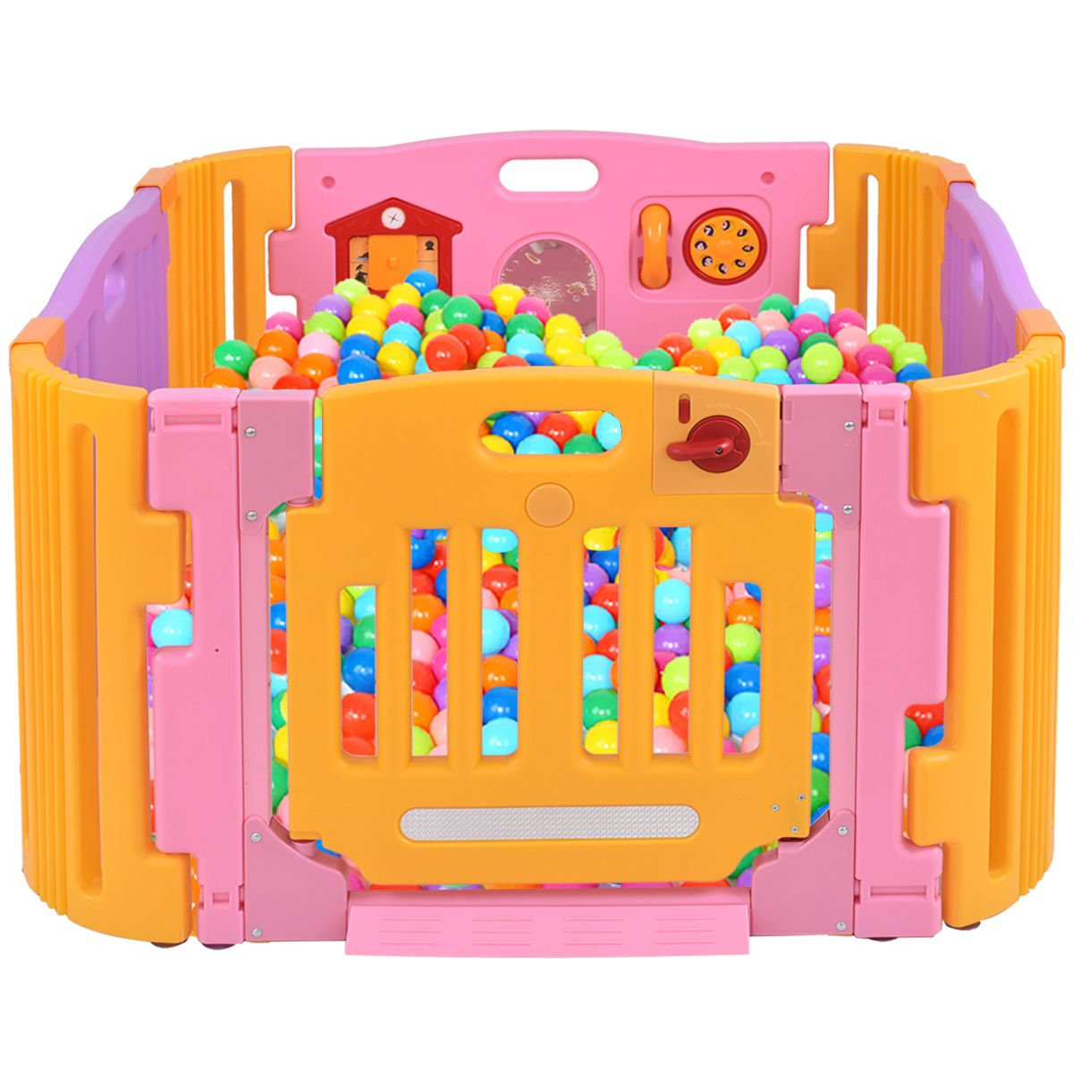 Pink PE Baby Playpen With Ebook