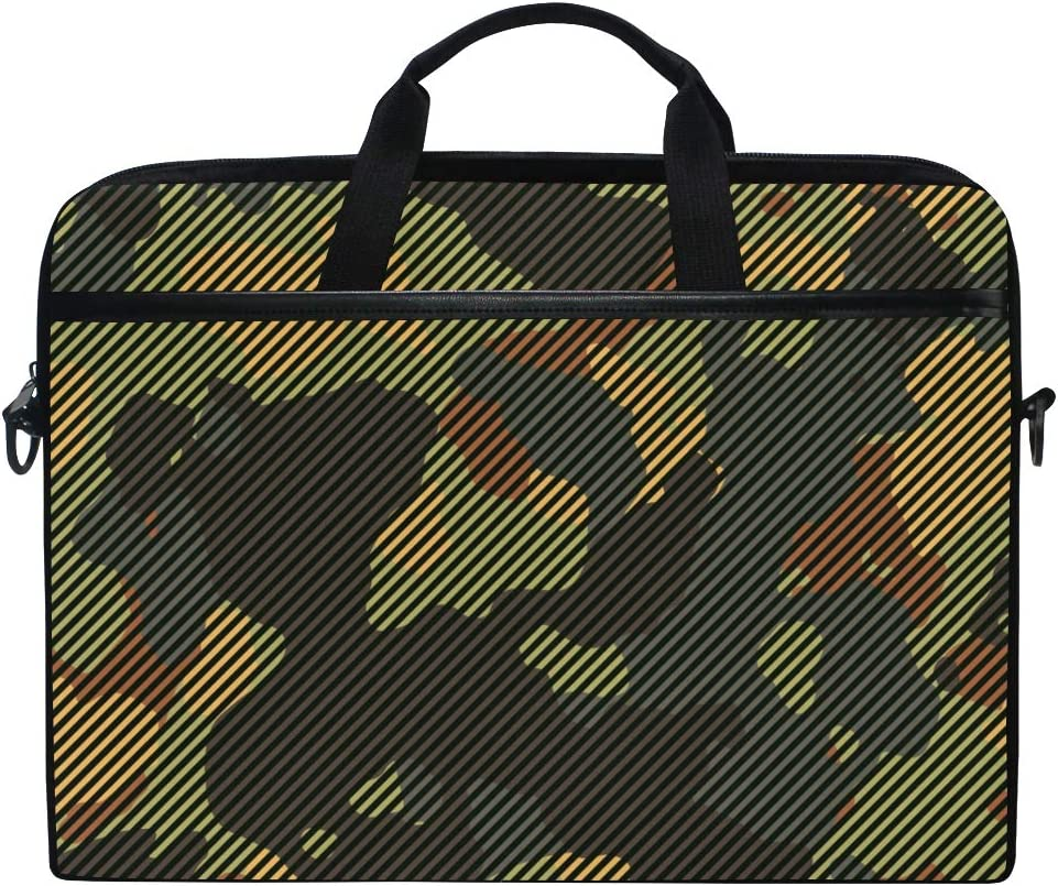ALAZA Green and Brown Camo Camoflauge Striped Laptop Case Bag Sleeve Portable Crossbody Messenger Briefcase Convertible w/Strap Pocket for MacBook Air Pro Surface Dell ASUS hp Lenovo 14-15.4 inch