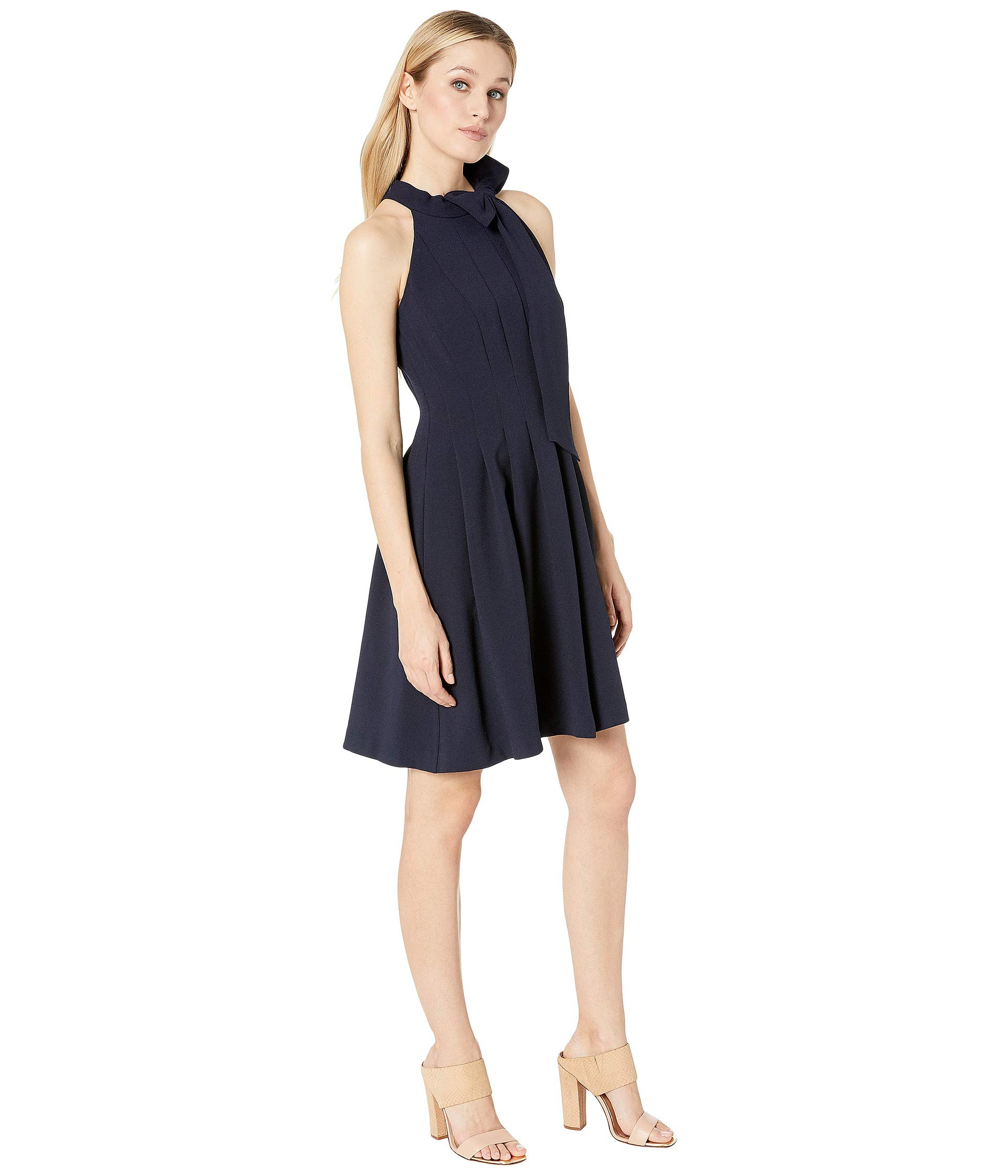 Vince Camuto Kors Crepe Fit Amp Flare W Bow Neck Hun