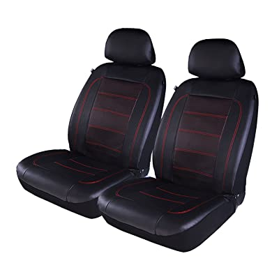 PIC AUTO Luxury Car Seat Covers, Front Seat Only, Double Layered Perforated PU Leather, Heavy Duty, Split Bench, Fit Most Cars, SUVs and Vans Low Back(4PCS) (Red): Automotive