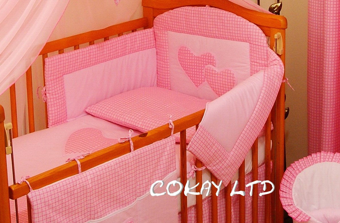 3 Pcs Baby Bedding Set//Bumper To Fit Cot Bed 140 x 70cm PINK