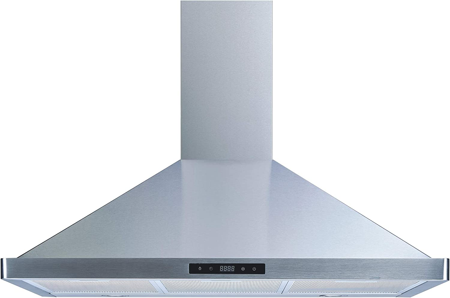 """Winflo 36"""" Wall Mount Stainless Steel Convertible Kitchen Range Hood with 450 CFM Air Flow, Touch Control, Aluminum Grease Filters and LED Lights"""