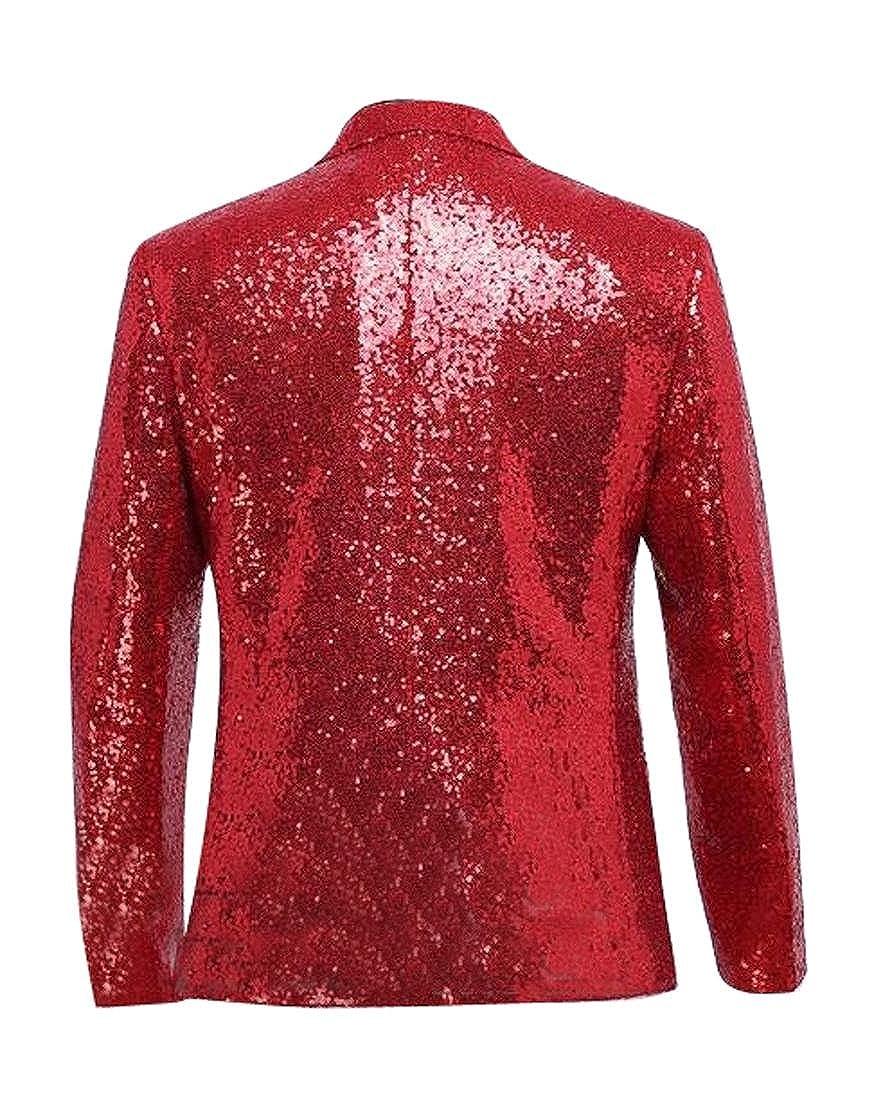 ARTFFEL-Men Lapel Sequin Glitter Club Slim Dress Blazer Suit Jacket Coats