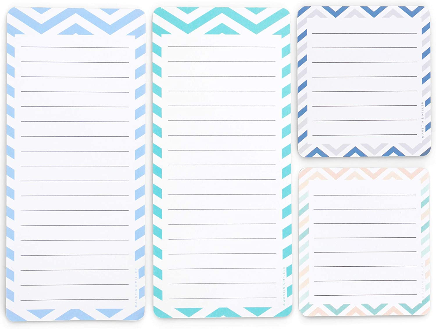 Magnetic Notepads in Large and Small Sizes for Fridge, Grocery Shopping, To-Do List Pad and Reminders (4 pack)