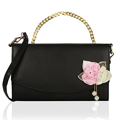 Kleio Stylish Trendy Flower Embellished Double Compartment Side Sling Bag  for Girls   Women