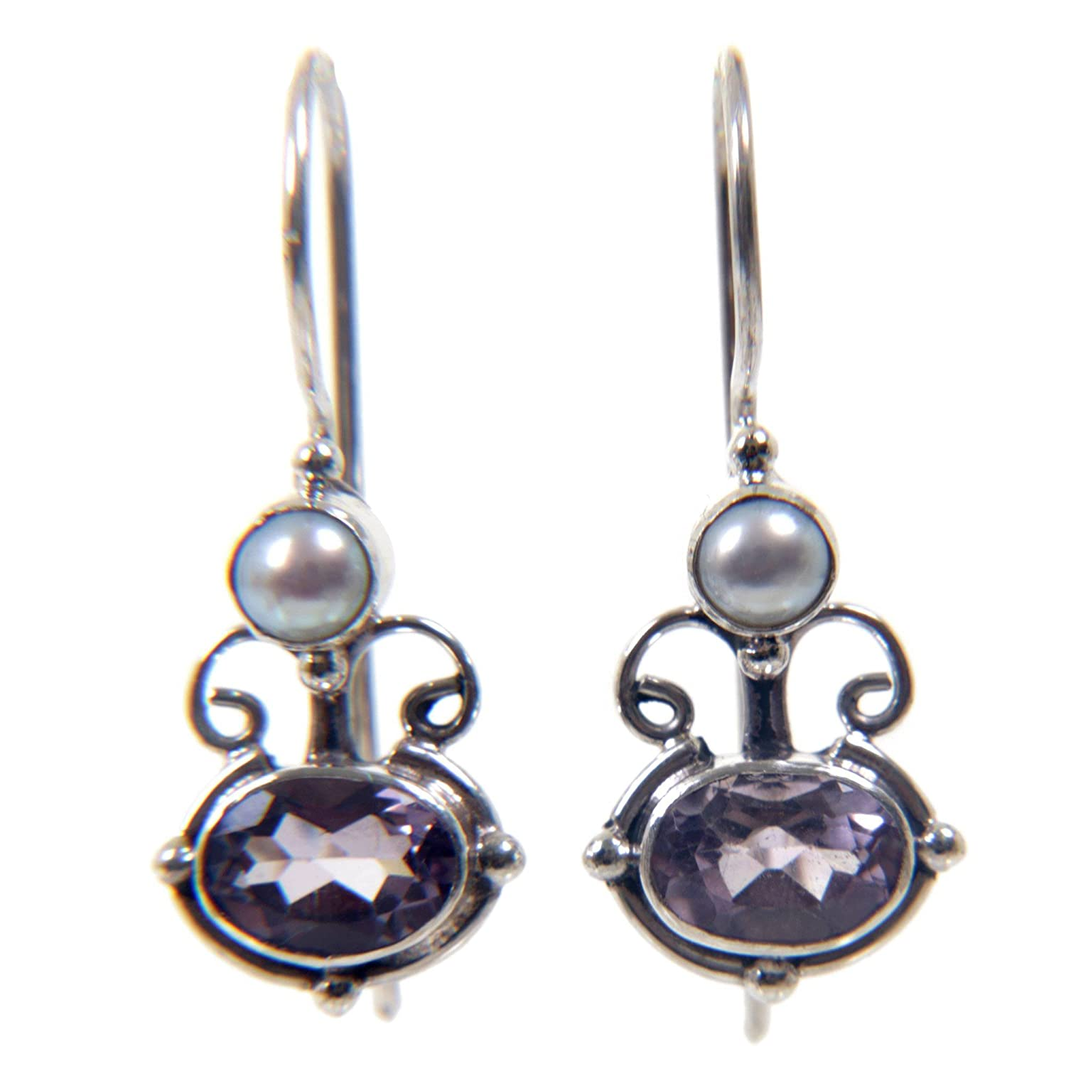 6df5709cfaf45 NOVICA Amethyst and Cultured Freshwater Pearl Earrings with Sterling  Silver, Sunrise Spirit'
