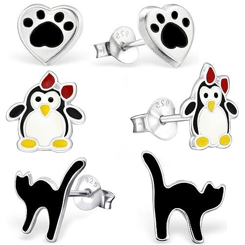 GH * Kids 3 pares pendientes Pingüino Huellas + + Gato 925 Plata ...