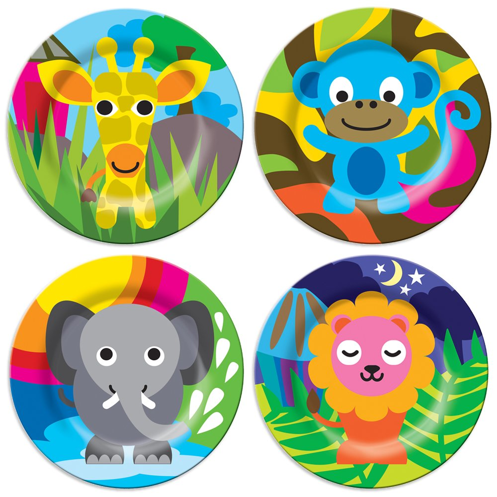 French Bull Kids Plate Set of 4 - BPA-Free, Tray, Animals, Toddler, Durable, Drop Resistant - Jungle