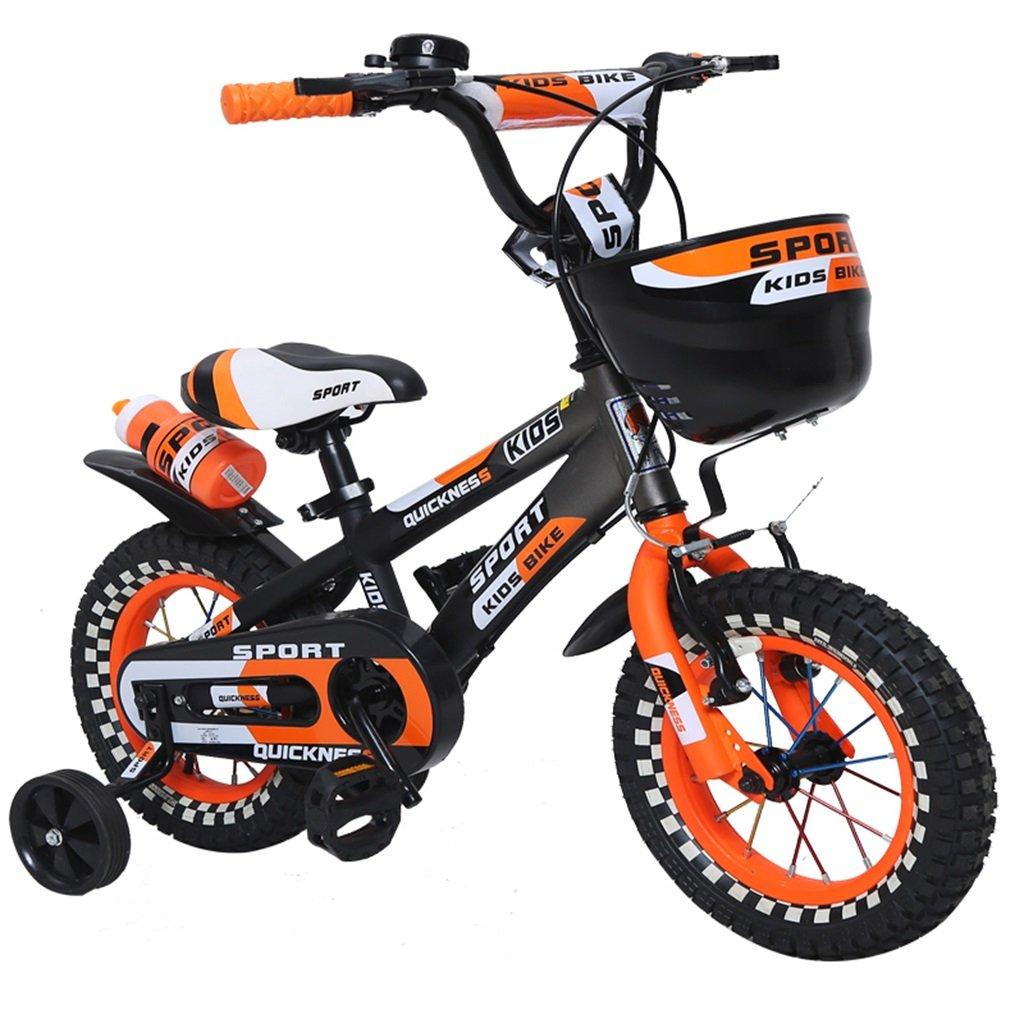 KANGR-子ども用自転車 屋外の子供の自転車色のついたホイールの設計に適した3-6-8の男の子と女の子子供の自転車のハンドルバーとサドルはトレーニングホイールで調節可能な高さにできます水筒とホルダー-12 / 14/16インチ ( 色 : オレンジ , サイズ さいず : 14 inch ) B07BTMJNBN 14 inch|オレンジ オレンジ 14 inch