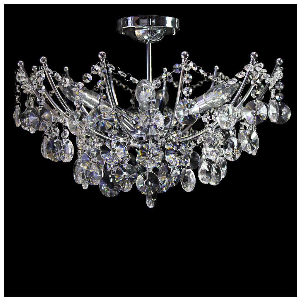 Dst Modern 6 Lights Clear Jewel Crystal Ceiling Pendant Light Chandelier Light for Living Room Dining Room Bedroom D50cm H36cm