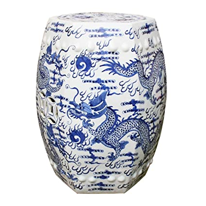 Superbe Asian Chinese Oriental Decorative Ceramic Blue U0026 White Hex Fire Ball Dragon Garden  Stool Seat