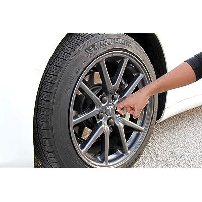 Aero Wheel Cap Kit for Tesla Model 3 - Full Set (4 Center Caps & 20 Lug Nut Covers) (Easy Remove): Automotive