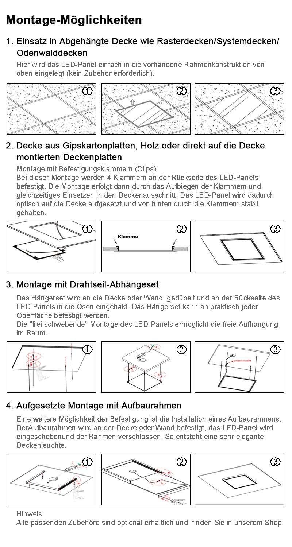 OUBO LED Panel 120x30cm Kaltweiß/48W/4200lm/6000K/Silberrahmen Lampe ...