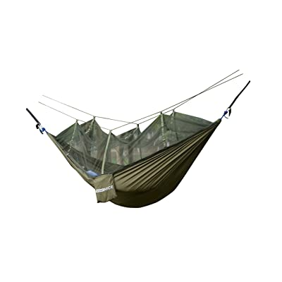 WoneNice Hammock with Mosquito Net, Portable Lightweight Nylon Parachute Multifunctional Hammock with Net and Tree Straps for Camping, Backpacking, Travel, Beach, Yard (Army Green): Sports & Outdoors