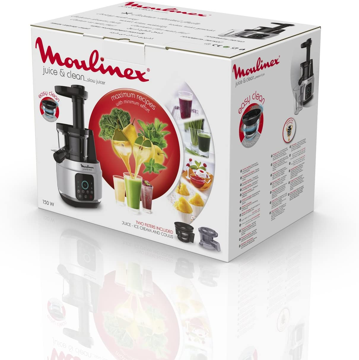 Moulinex Juice and Clean Licuadora De Prensado En Frío, 150 W, 0.8 ...