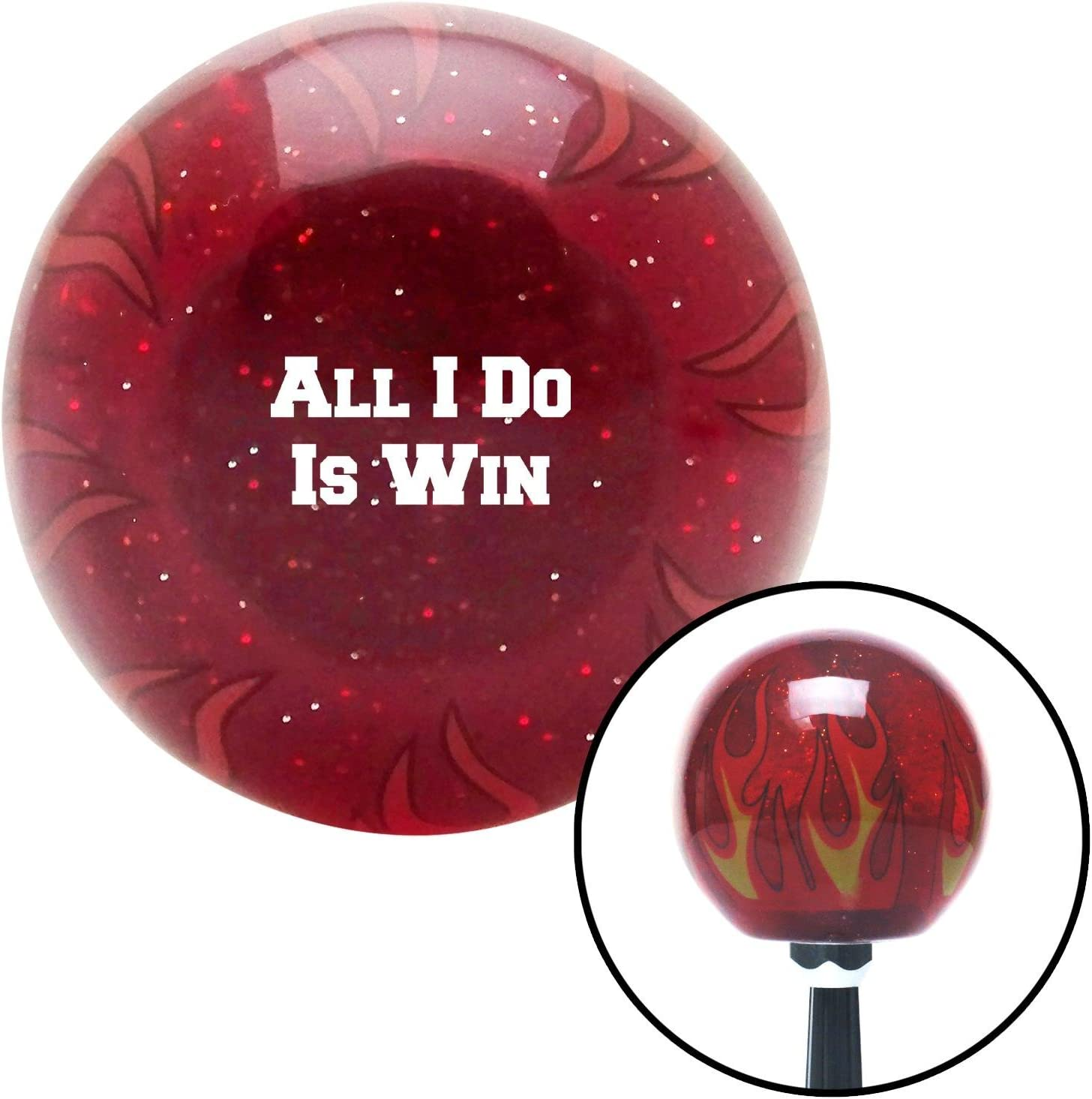 American Shifter 296122 Shift Knob White Spade Skull Clear Flame Metal Flake with M16 x 1.5 Insert