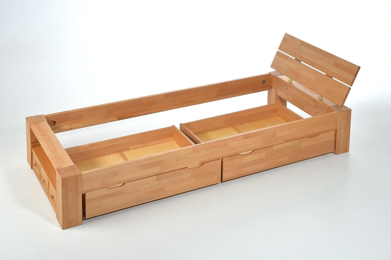 ALASKA Einzelbett Buche massiv mit Schubladen, 90x200 ✓ Handarbeit ...
