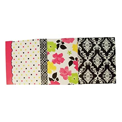 Studio C Carolina Pad 3 Folder Set ~ Fashionista (Multicolored Dots, Flowers with Scroll Edge, Black & White Scroll): Toys & Games