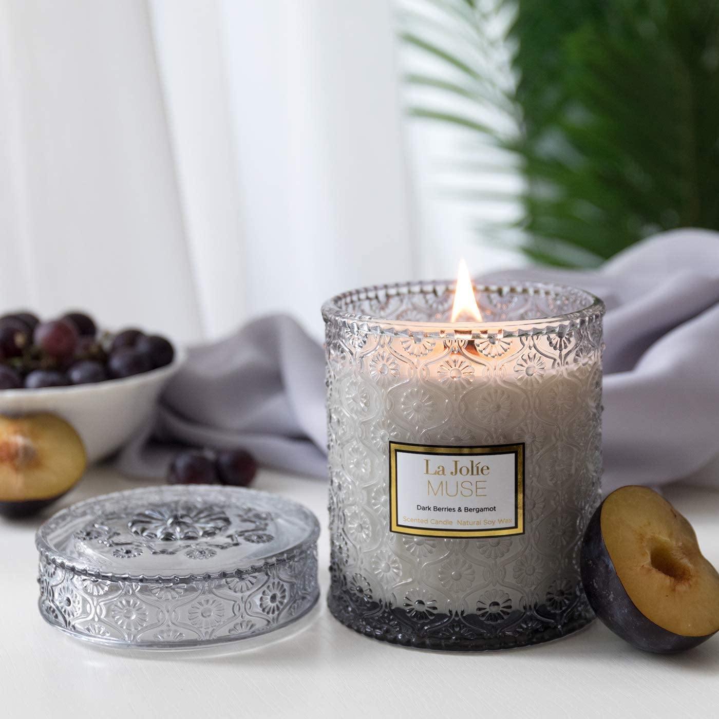 LA JOLIE MUSE アロマキャンドル ブラックベリー&ベルガモットの香り ガラスの瓶 550g 90時間 ギフト プレゼント