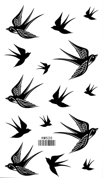 Amazon.com : Bird Temporary Tattoo Swallow Waterproof Tattoo Stickers : Body Paint Makeup : Beauty