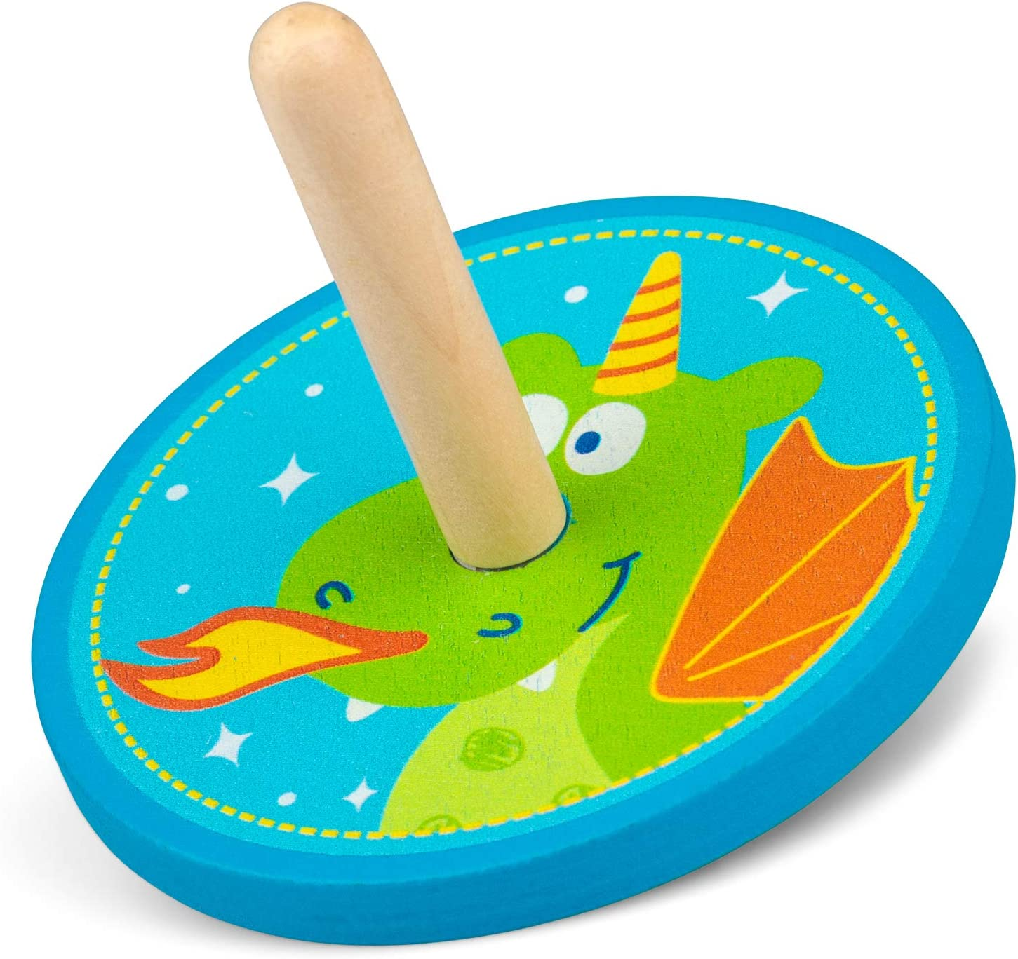Tobar Wooden Unicorn and Dragon Spinning Top Toy 1 Design Sent at Random