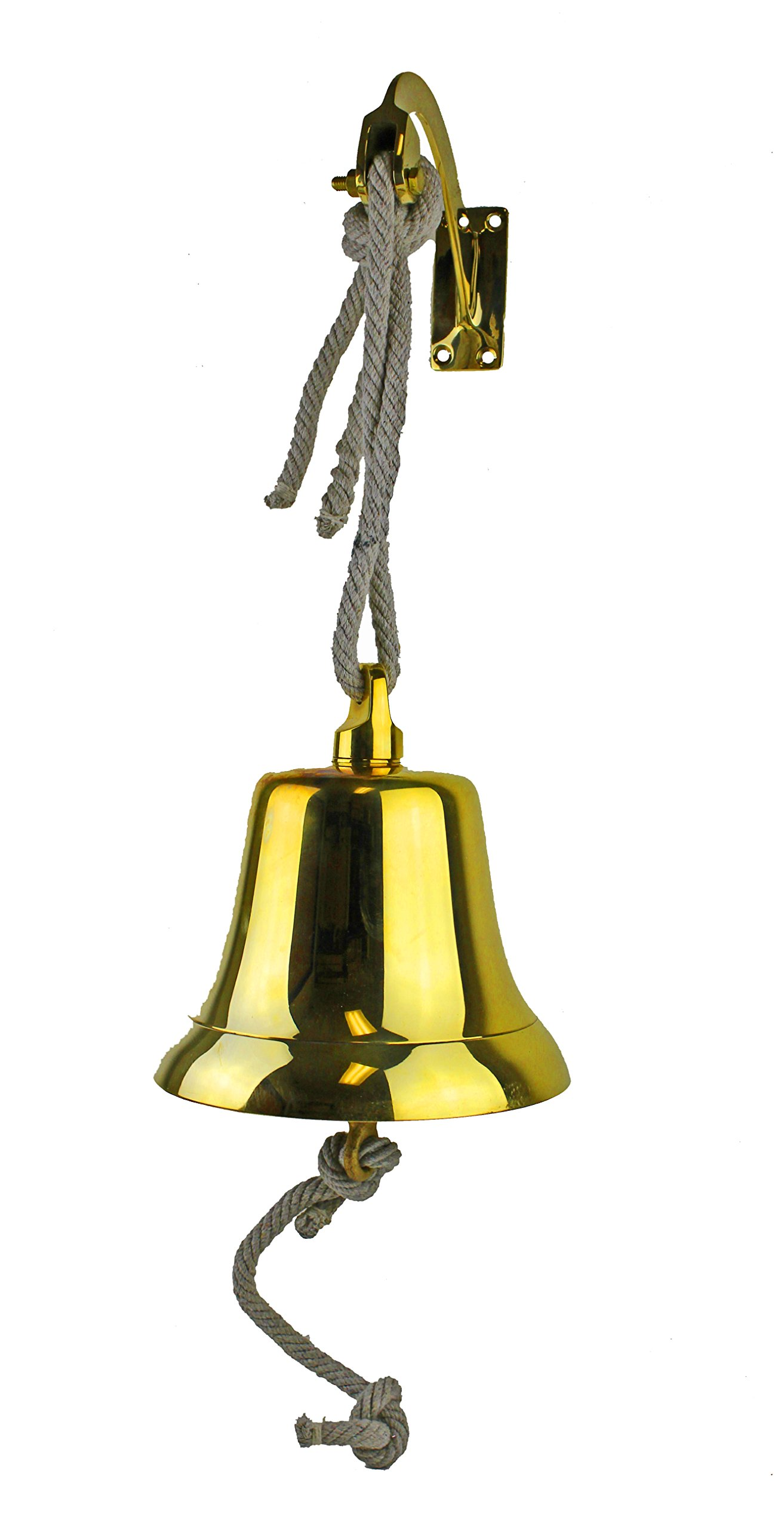 10''H Solid Brass Hanging Rope Bell with Bracket by Nautical Tropical Imports