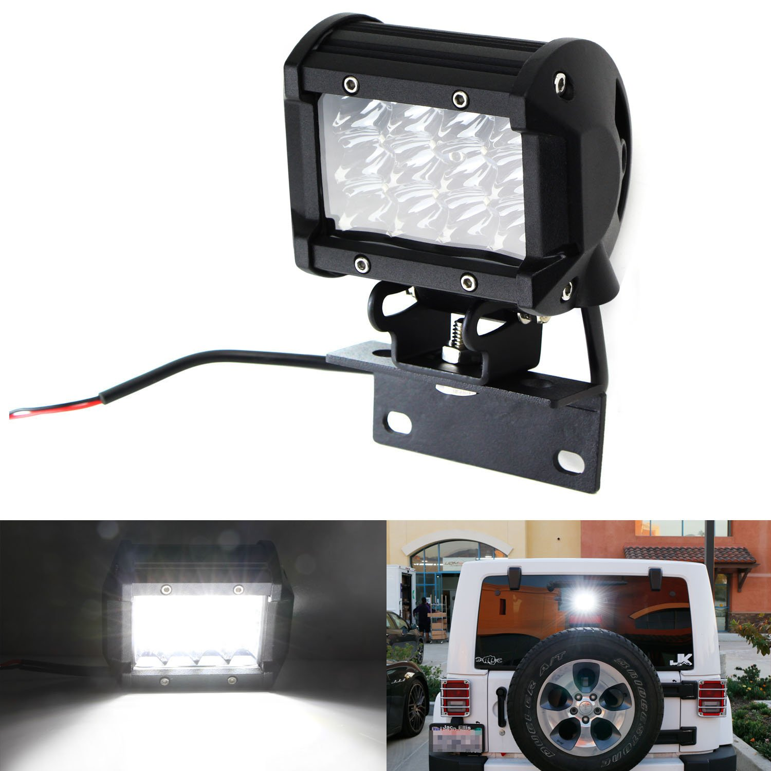 iJDMTOY Over 3rd Brakelamp 36W LED Pod Light For 2007-2017 Jeep Wrangler JK w/Brake Light Mounting Bracket, Use as Backup Reverse or Rear Driving Lamp iJDMTOY Auto Accessories 12 x 3W LED Driving Auxiliary Lamp
