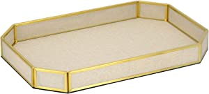 Linen Rustic Serving Tray,PU Leather Gold Decorative Tray,Valet Catchall Tray Vintage Farmhouse Tray Decor for Perfume Ottoman Coffee Table Dresser Nightstand Entryway Office-Ivory (Large)