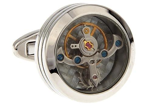 Reino Unido de la fábrica de joyería de la época de reloj Steampunk con movimiento Mancuernas redondas caja de regalo de boda traje de negocios: Amazon.es: ...
