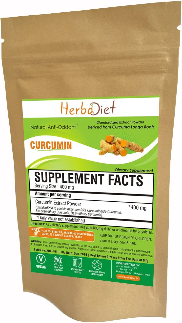 Turmeric Curcumin 95 Natural Curcumin Extract Powder Bulk Standardized Curcuminoids No Fillers Non GMO 200 Gram