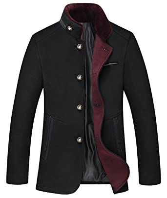5a594bc384c7d chouyatou Men s Gentle Band Collar Single Breasted Wool Blend Pea Coat  (10Black