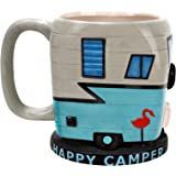BigMouth Inc Happy Camper Mug, Holds 12 oz, Ceramic Cup for Coffee and Tea with Handle, Funny Novelty Cup