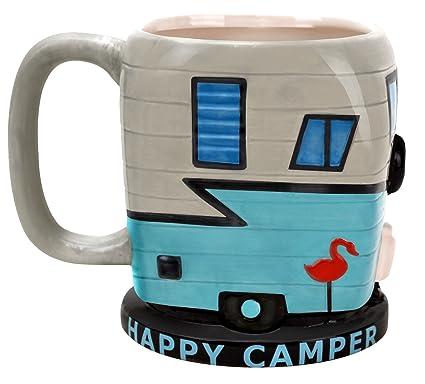 7726e7b861a BigMouth Inc Happy Camper Coffee Mug - 16 oz Ceramic Camping Trailer Shaped  Coffee Cup,