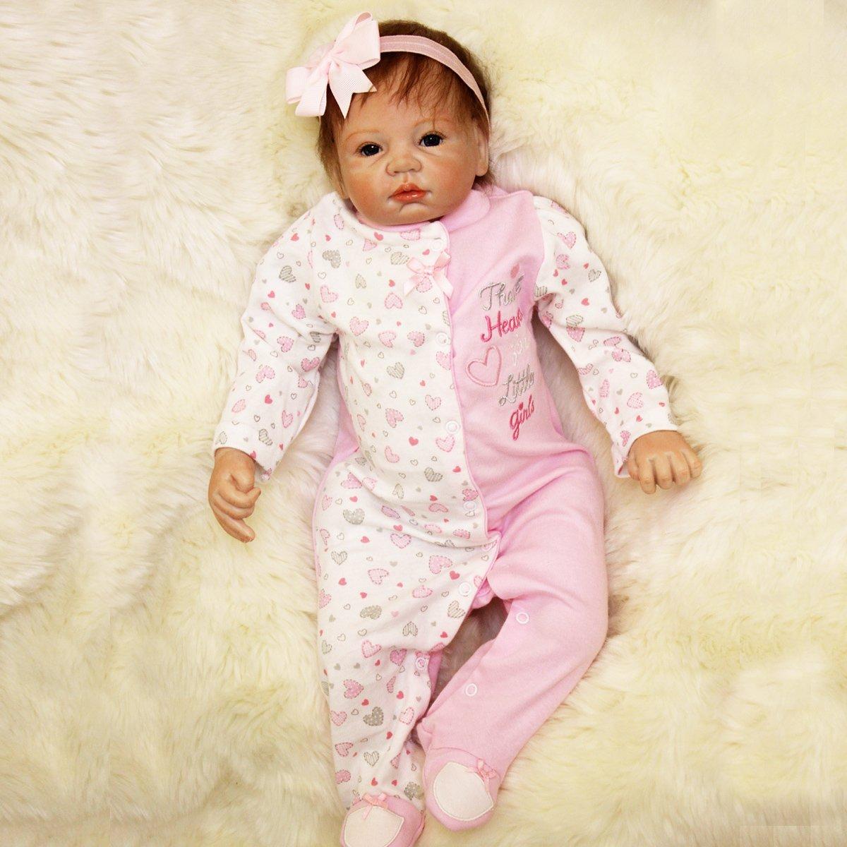 Bureze Reborn Baby Mädchen Puppe Silikon handgefertigt Mädchen lebensecht Spielhaus Spielzeug