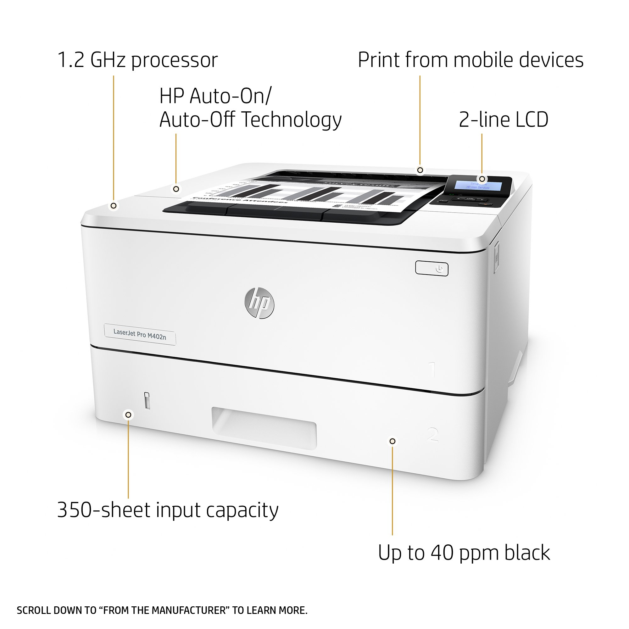 HP LaserJet Pro M402n Laser Printer with Built-in Ethernet, Amazon Dash Replenishment ready (C5F93A) by HP (Image #2)