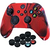 YoRHa Silicone Cover Skin Case for Xbox Series X / S Controller x 1(Camouflage Red) with Thumb Grips x 10